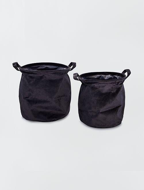 2 cestos redondos em veludo                                                     Preto