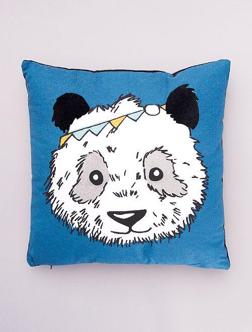 Almofada 'panda' bimatéria                             Azul