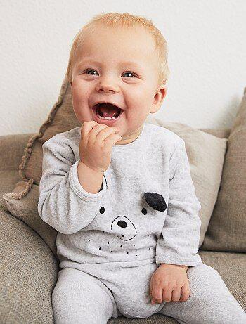 Babygrow de veludo com estampado - Kiabi