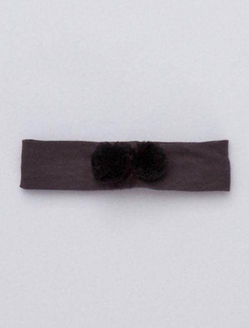Bandolete com pompom em tule                                         Cinza Escuro