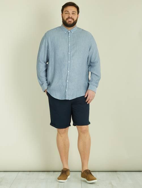 Bermudas chino lisas de sarja leve Azul Marinho Homem tamanhos grandes