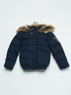 Casaco, sobretudo - Blusão com capuz acolchoado com forro tipo sherpa - Kiabi