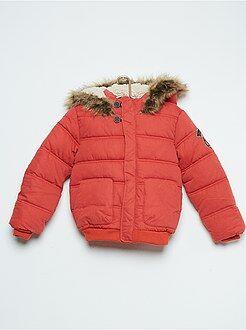 Blusão com capuz acolchoado com forro tipo sherpa