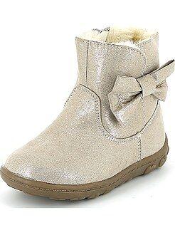 Sapatos menina - Botas de camurça com laço