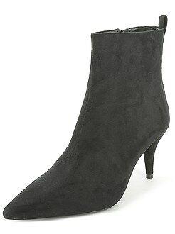 Sapatos mulher - Botas de camurça com salto - Kiabi