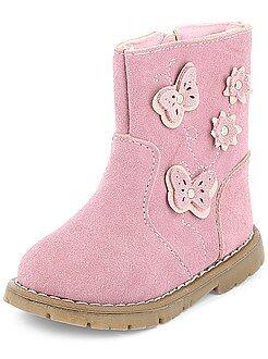 Sapatos menina - Botas de pele com 'Borboletas'
