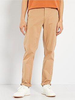 Calças - Calças chino em sarja de algodão elástico