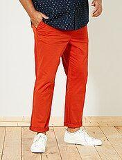 Calças chino justas em sarja elástica