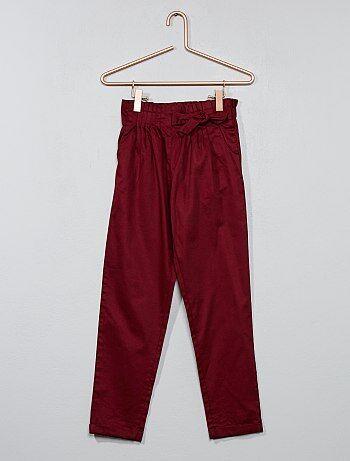 Calças com cintura plissada - Kiabi