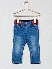 Calças de ganga com cintura brilhante