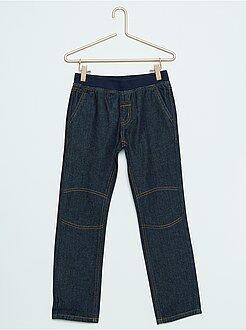 Jeans - Calças de ganga de corte a direito e cintura elástica