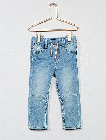 Calças de ganga elásticas plissadas - Kiabi