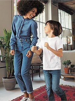 Jeans - Calças de ganga mom com cintura muito subida