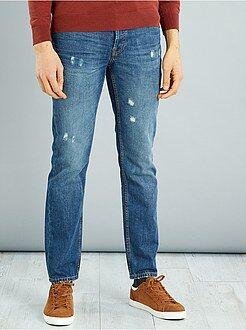 Jeans - Calças de ganga regulares com ligeiros rasgões - Kiabi