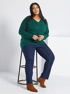Jeans - Calças de ganga regulares de ganga elástica comprimento 75 cm