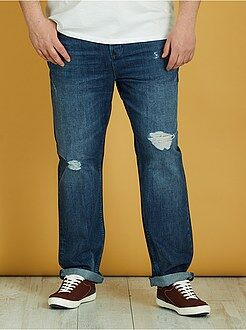 Calças de ganga semi-slim com rasgões - Kiabi