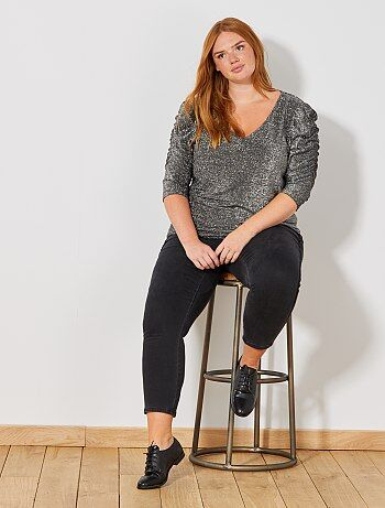 Mulher tamanhos grandes - Calças de ganga skinny com faixas laterais - Kiabi