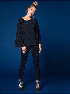 Jeans - Calças de ganga skinny destroy com cintura subida