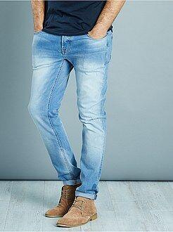 Jeans - Calças de ganga slim elásticas com desgastes ligeiros