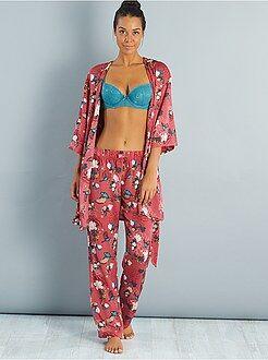 Calças de pijama acetinadas com motivos nipónicos