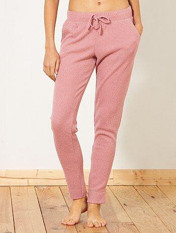 Calças de pijama em malha nervurada - Kiabi