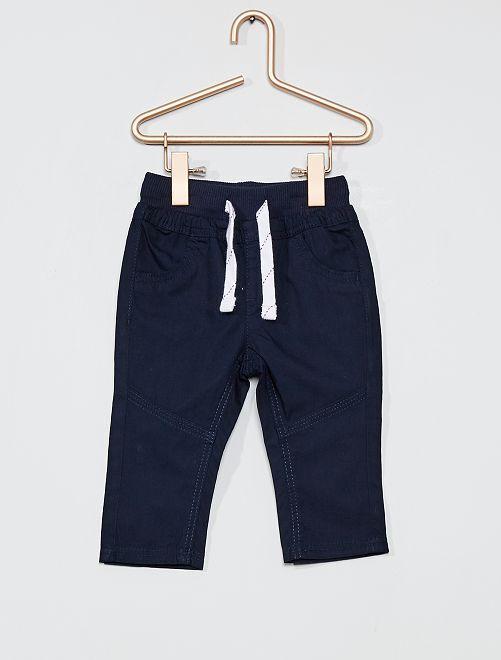Calças leves em popelina                                                     Azul Marinho