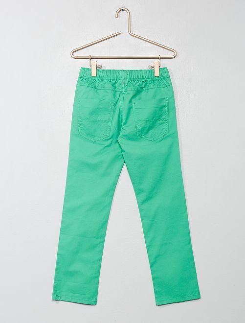 Calças regulares em puro algodão Menino 3-12 anos - VERDE - Kiabi ... 9935fab0a93