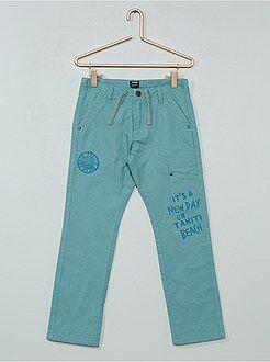 Calças - Calças regulares forradas a jersey - Kiabi