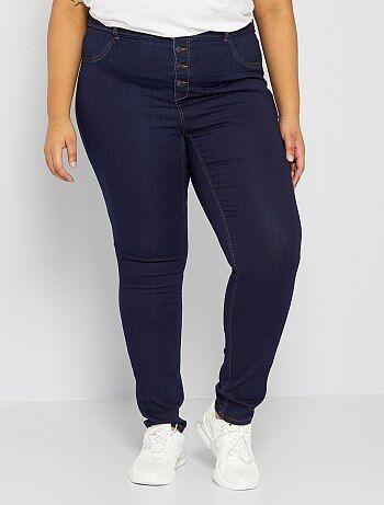 Calças skinny em ganga elástica de cintura subida - Kiabi