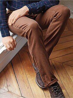 Calças casuais - Calças slim com 5 bolsos em algodão elástico
