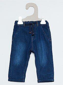 Calças, jeans, legging - Calças tipo ganga com forro em jersey