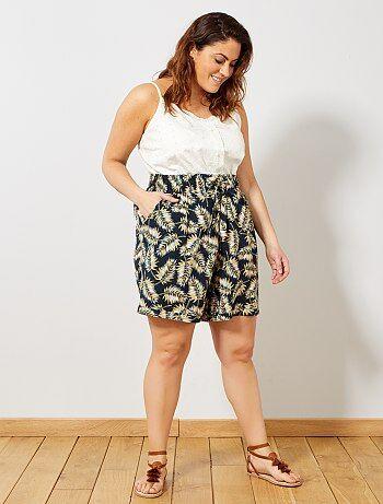 7aaccaea4 Mulher tamanhos grandes - Calções estampados com cintura elástica - Kiabi