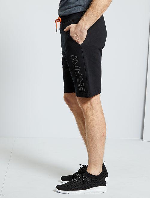 Calções sportswear em moletão                                 Preto