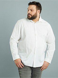 Camisa a direito estampada em popelina