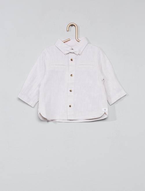 Camisa algodão e linho + laço Bege Acinzentado Menino 0-36 meses