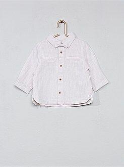 Camisa, blusa tamanho 3m - Camisa algodão e linho + laço - Kiabi