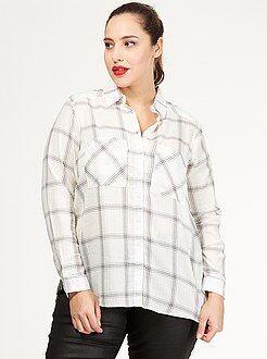Camisa - Camisa aos quadrados em algodão