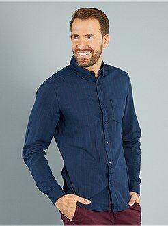 Camisa - Camisa às riscas em sarja de algodão