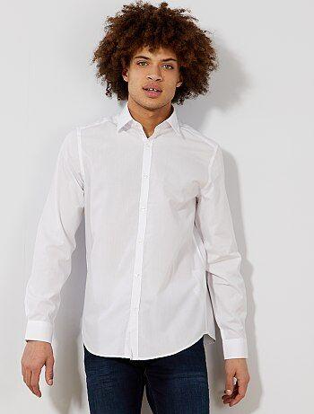 Camisa branca lisa com corte direito - Kiabi