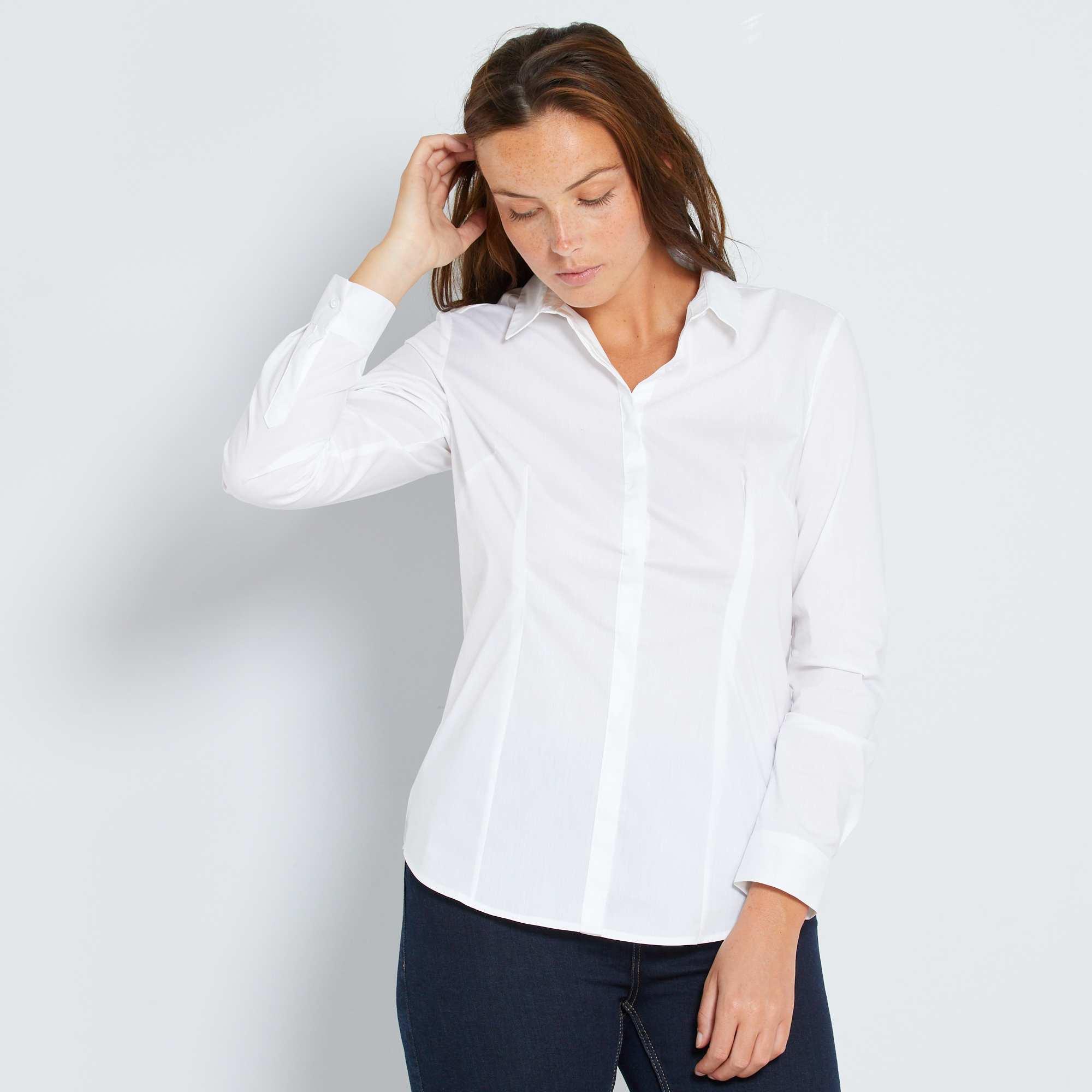 5f0d88018 Camisa cintada em popelina elástica Mulher do 34 até 48 - Branco ...