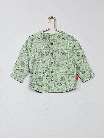 Camisa com gola mao em algodão estampado - Kiabi