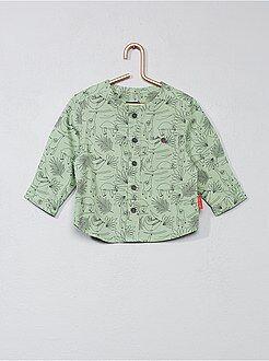 Camisa, blusa verde - Camisa com gola mao em algodão estampado - Kiabi
