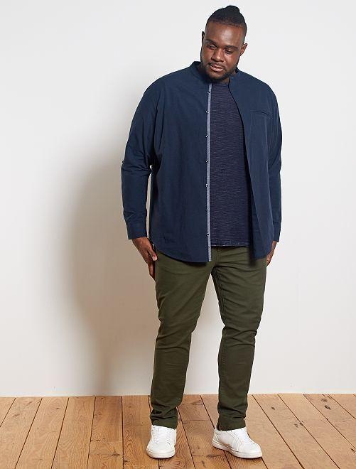 Camisa com gola mao em linho e algodão                                                     Azul Naval