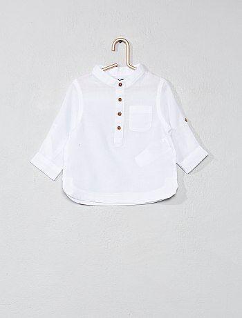 Menino 0-36 meses - Camisa com gola mao em voile de algodão - Kiabi