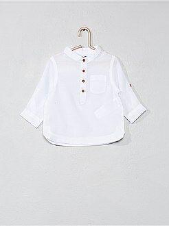 Camisa - Camisa com gola mao em voile de algodão