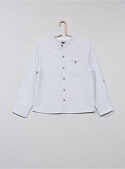Camisa - Camisa com micro motivos e colarinho mao - Kiabi