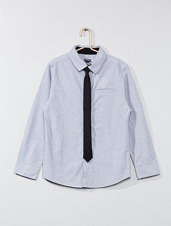 Camisa de algodão + gravata - Kiabi