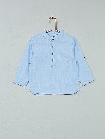 Camisa de cambraia com gola mao - Kiabi