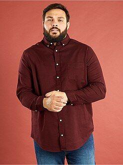 Homem tamanhos grandes Camisa de corte a direito em algodão ribstop