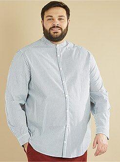 Homem tamanhos grandes Camisa de corte direito às riscas com colarinho mao